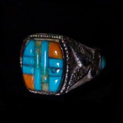 Turquoise & Spiny Oyster Shell Overlay Seal Ring Silver 925
