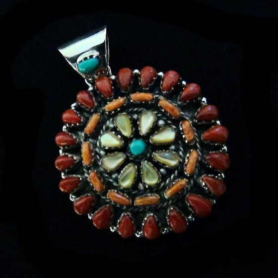 Indian Zuni Sun Multi Color Pendant