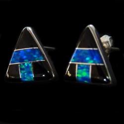 Boucles d'Oreilles en Argent 925 Triangle avec Opale