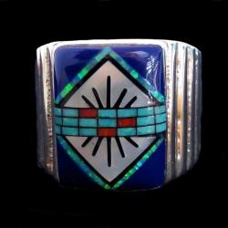 Bague Chevalière Motif Navajo Lapis Lazuli Turquoise & Nacre