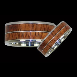Bandring Couple Wedding SterlingRing with a Wood Inlay