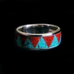 Bandring Couple Wedding Sterlingsilver Ring with a Gemstone Inlay Color Choice