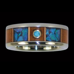 Bandring Couple Wedding Ring with Wood and Gemstone Inlay Color Choice
