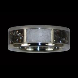 Bandring Couple Wedding Ring with  Gemstone Inlay Color Choice