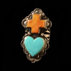 Spiny Oyster Shell Cross & Turquoise Heart Navajo Ring