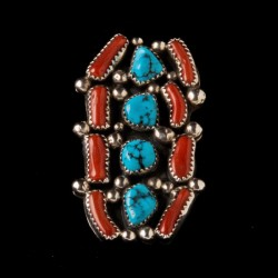 Navajo Turquoise & Coral  Sterlingsilver Ring For Woman