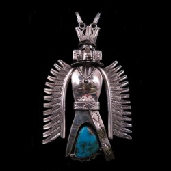 KASHINA EAGLE DANCER STERLING SILVER AND TURQUOISE PENDANT OR NECKLACE