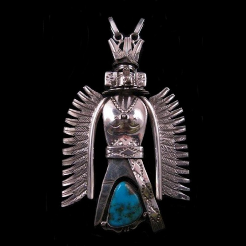 KASHINA STERLING SILVER AND TURQUOISE PENDANT OR NECKLACE