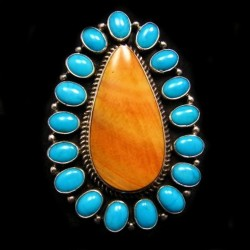 Spiny Oster Shell and Turquoise Cluster Navajo Woman Ring