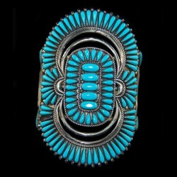Indian Zuni Elongated Bracelet with Inlay Color Choice