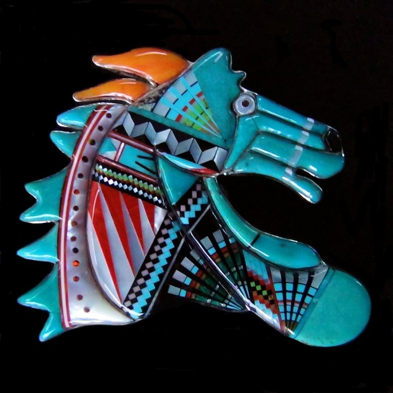 ZUNI INLAID TURQUOISE HORSE HEAD SILVER BELT BUCKLE