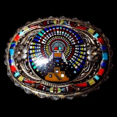 Zuni Kashina & Pueblo Inlay Belt Buckle American Southwest Jewelry
