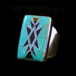 Bague Navajo Argent Rectangulaire Turquoise & Jeais Noir