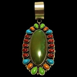 PENDENTIF NAVAJO OVALE TURQUOISE ET CABOCHONS