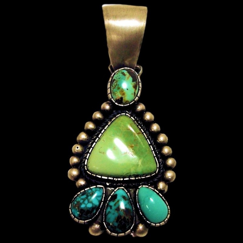 TURQUOISE AND CABOCHONS ARROWHEAD NAVAJO STERLING PENDANT