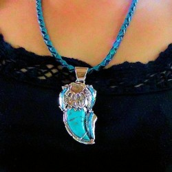Turquoise Bearclaw and Opal Sterlingsilver Pendant