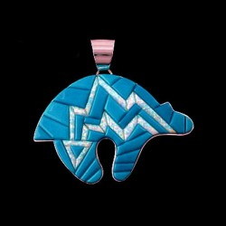 TURQUOISE OPAL SCRED BEAR PENDANT