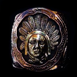 VINTAGE CUFF BRACELET INDIAN CHIEF COPPER BRASS