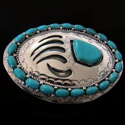 Boucle de ceinture Patte d'Ours Argent 925 & 21 Cabochons Turquoise