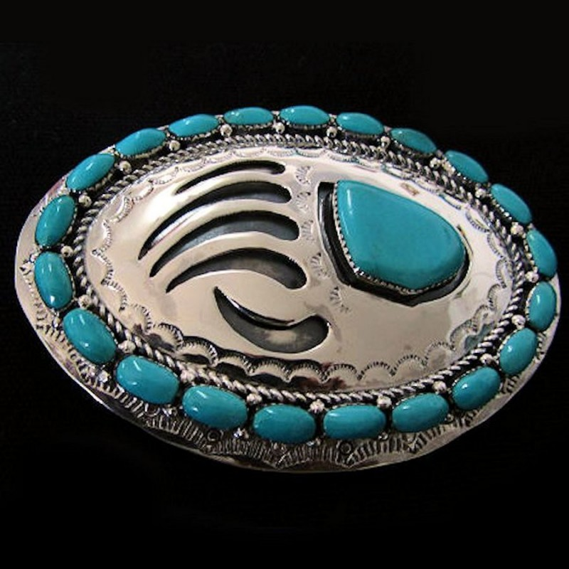 TURQUOISE CABS BEARPAW STERLING BELT BUCKLE