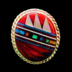 Bague Amerindienne Ronde en Argent Design Navajo Pour Femme