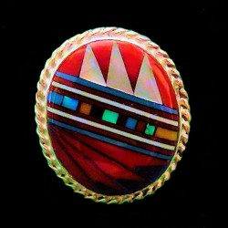 Navajo Design Round Sterlingsilver Ring For Woman