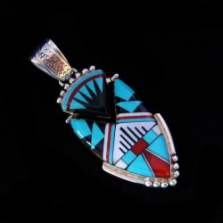 Arrow Head Zuni Stone-to-stone Inlay Sterlingsilver Pendant