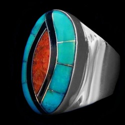 Turquoise & Coral Channel Inlay Sterlingsilver Ring