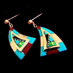 TRIANGLE ZUNI SILVER EARRINGS