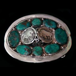 Buffalo Turquoise Cabochons Sterlingsilver Belt Buckle