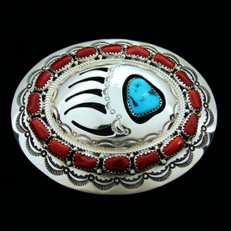 21 Red Coral Cabs Bearpaw Sterlingsilver Beltbuckle