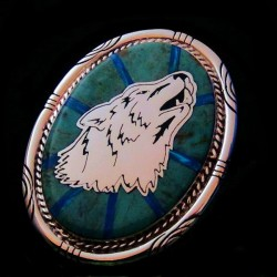 Howling Wolf Sterlingsilver Bolo Tie with Opal and Turquoise