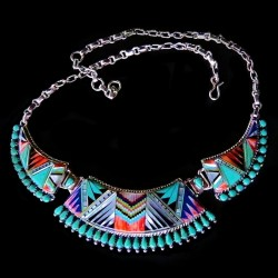 Multi Color Inlay Zuni Sterligsilver Necklace
