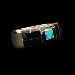 Anneau Amerindien Channel Inlay Jeais Noir et Opal en Argent 925