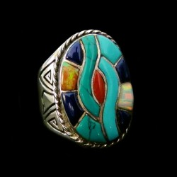 Oval Overlay Sterlingsilver Navajo Ring for Man