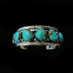 Navajo Sterlingsilver Bracelet 5 Cabochons Color Choice