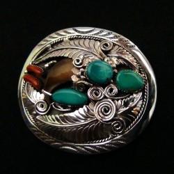 Boucle de ceinture en Argent 925 Griffe d'Ours et Turquoises