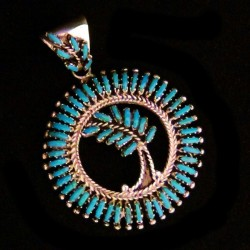 TURQUOISE PETITPOINT FEATHER STERLING SILVER PENDANT