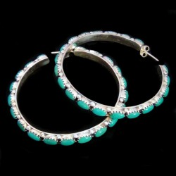 Creoles with Gemstone Cabochons Sterlingsilver Earrings Color Choice