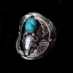 Buffalo & Turquoise Nugget Sterlingsilver Ring For Man