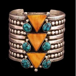 Navajo Large Spondylus and Turquoise Ring