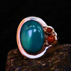 TURQUOISE AND OPALE SILVER RING