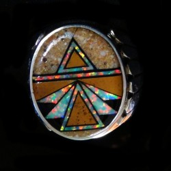 Arrow Sterlingsilver Ring for Man With Brown Turquoise and Opal