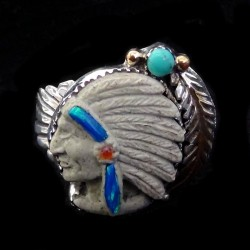 Turquoise, Feather & Turquoise Carved Indian Chief Ring