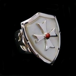 CRUSADER TEMPLAR KNIGHT CROSS SILVER RING