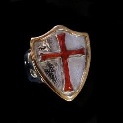 Bague Argent et Plaquée Or Croix Malte Ordre Templier