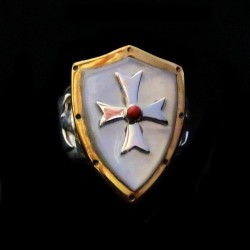 CRUSADER TEMPLAR CROSS SILVER GOLD PLATED RING