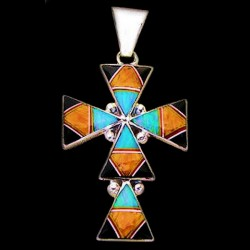 NAVAJO CROSS STERLING SILVER PENDANT