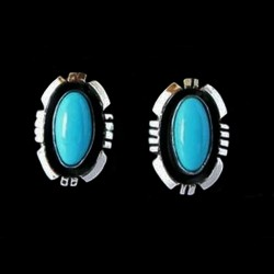 NAVAJO SHADOW BOX STERLINGSILVER EARRINGS