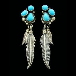 NAVAJO FEATHER STERLINGSILVER EARRINGS 3 CABOCHONS
